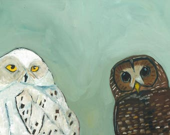 Snowy Owl and Spotted Owl Original Oil Painting