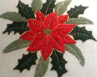 Poinsettia Crewel Embroidery Kit