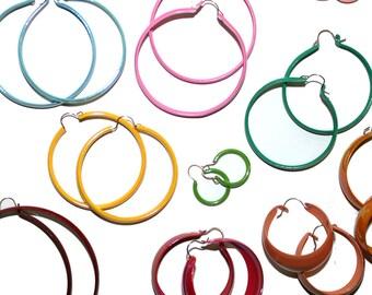 Vintage Colorful Hoop Earrings - Set of 3 Pairs - Vintage Rainbow Hoop Earrings Hoop Jewelry Large Earrings Small Earrings Hoops