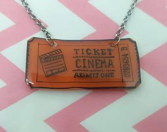 Necklace plastic ticket cinema vintage