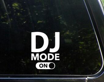 DJ Mode ON Custom Vinyl Decal/ Bumper Sticker for Windows, Cars, Trucks, Macbook, Etc 8370