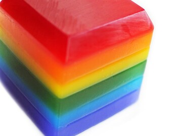 6 Rainbow Cube Soaps - Bulk Soap - Package Soap