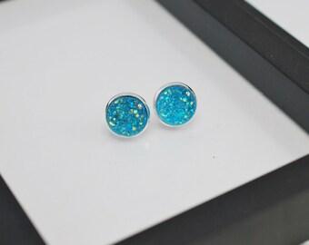 Blue Druzy Earrings, Stud Earrings, Aqua Blue, Druzy Stud Earrings, Aqua Stud Earrings, Faux Druzy Earrings,Silver Stud Earrings, Faux Plugs