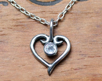 Moonstone heart necklace, tiny heart necklace, silver heart necklace, silver heart pendant, june birthstone, valentine gift for her