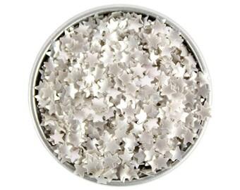 Silver Star Edible Glitter - metallic silver star sprinkles, metallic silver star edible glitter