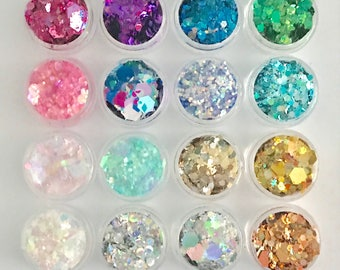 Limited edition ultimate collection 16x chunky glitter pots cosmetic glitters for face body hair partings boobs nails unicorn eyeshadow eyes