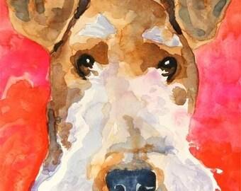 Wire Fox Terrier Art Print of Original Watercolor Painting 11x14