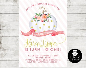 Pumpkin First Birthday /First Birthday Girl Invitation /Pink & Gold Birthday Invitation/ Printable Invitation / Printed Invitations