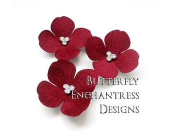 Valentine Wedding Party Gift, Bridal Hair Accessories, Bridesmaid Flower Girl Hair Flowers - 3 Dark Red Sedona Hydrangea Flower Hair Combs