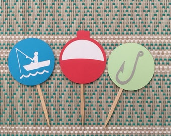 Gone Fishing Cupcake Toppers, Fishing Birthday Cupcake Toppers, bobber fishing toppers