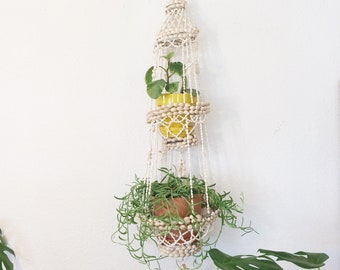 Vintage shell chandelier/70s shell plant hanger