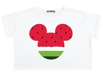 Mouse Watermelon Crop Top T Shirt Tee Womens Girl Funny Tumblr Hipster Swag Grunge Goth Punk Fashion Girl Festival Ears Cute Pink Kawaii