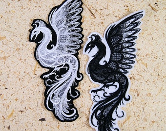 Phoenix Midnight Creatures White Baroque Iron On Embroidery Patch MTCoffinz - Choose Size / Color