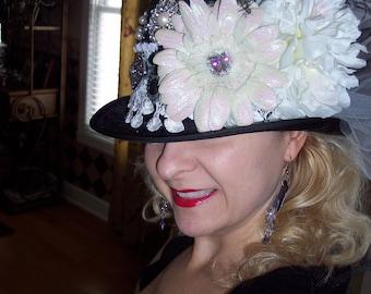 GYPSY WOMAN, Black Felt Top Hat, Custom Made, with Embellishments, for Weddings, Parties, Bachelorette, Bridesmaids, Birthdays ,Girls Night