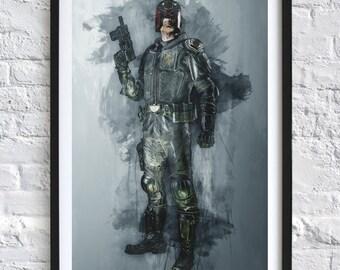 Judge Dredd 'Watercolor' A4 Print