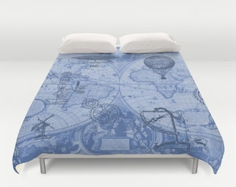 Steampunk Duvet Cover - in Blues -  bed - bedroom, travel decor, cozy browns, map, hot air balloons, retro