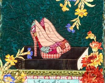 Christian art/Standing on the Promises/Bible Art Quilt/Scripture art/christian wall hanging