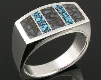 Dinosaur Bone Ring with Spiderweb Turquoise, Man's Dinosaur Bone Ring, Bone Ring in Sterling Silver, Inlaid Dinosaur Bone Ring for Men