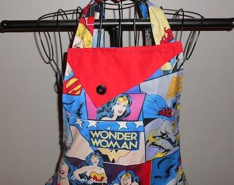 Femme Power - Women's Apron - Wonder Woman - Bat Girl - Super Girl - Ruffle - Pocket - Superheros- Nerdy - Women Power