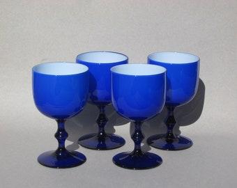 Carlo Moretti Cased Glass Goblets Cobalt Blue & White Set/4 Mid Century Italian Designer 8 oz Water Glass Blown Glass Goblets Murano Italy