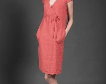 Linen dress, midi, red linen dress, red dress, summer dress, summer clothing, linen tunic, summer fashion, linen clothes, pure linen