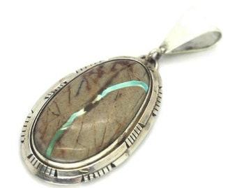 Navajo Handmade Sterling SIlver Boulder Turquoise Pendant-Scott Skeets