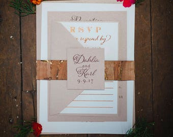 Copper and Rose Gold Foil Wedding Invitation with Cork Belly Band for a Vineyard Wedding