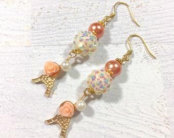 Eiffel Tower Earrings, Romantic Pearl Earrings, Peach Flower Earrings, Long Dangle Earrings, White Rhinestone Ball Earrings, KreatedbyKelly