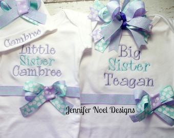Sibling Shirt Set, Little sister Big Sister Shirts with baby name hat and headband in aqua and lavender, newborn family photos