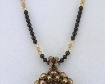 Beadwoven Pendant Necklace with Swarovski Pearls and Crystals - N004BFL