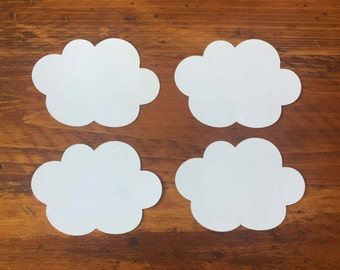 Cloud Die Cuts, 24 White Paper Clouds, Baby Shower Decor