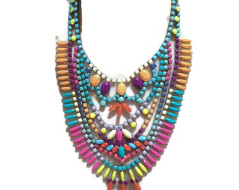 PASTEL POP neon painted rhinestone necklace