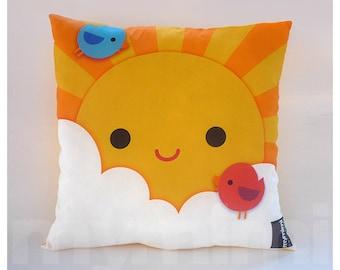 """12 x 12"""" Yellow Pillow, Decorative Pillow, Kawaii Print, My Little Sunshine, Kids Throw Pillow, Girls Room Decor, Nursery Room Pillow"""