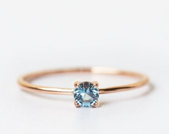 aquamarine ring, aquamarine ring rose gold, aquamarine engagement ring, aquamarine ring gold, thin ring, thin gold ring for women