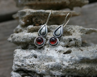 Garnet Earrings,  Silver Earrings,Garnet Drops Earrings, Handmade 925 Silver Earrings