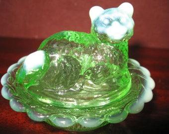 Green Opalescent  Glass Salt Cellar Cat Kitten on Basket Dish Mosser