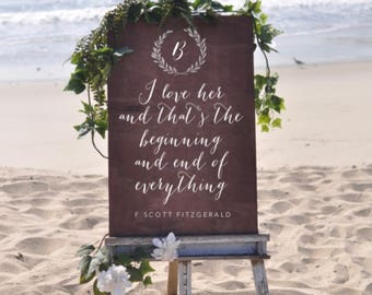 I love her and thats the beginning and end of everything, f scott fitzgerald, wood wedding sign