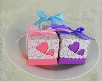 50pcs,100pcs Love  heart candy box  Candy Box Treat Boxes  Birthday Boxes  Party Boxes Birthday Party Gift Box Favor Boxes -Wedding Favor