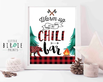 Lumberjack Chili bar sign Lumberjack first birthday Chili bar Bear birthday warm up at the chili bar - Lumberjack decorations watercolor
