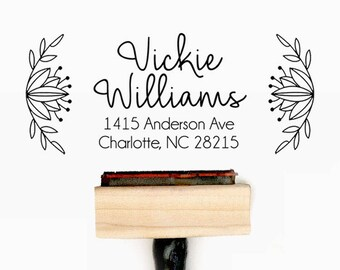 Custom Personalized Return Address Pre-Designed Rubber Stamp - Branding, Packaging, Party, Invitations, Tags, Wedding - A004