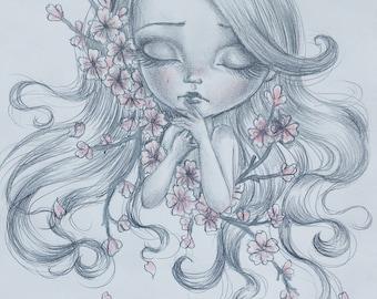 ORIGINAL ART Drawing Cherry Blossom Spring Flowers Pink Pencil Graphite Big Eyes Girl Doll