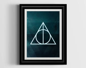 Deathly Hallows Harry Potter Wall Art - Digital Download - Instant Download - Digital Print - Printable Wall Art - Printable Art - Decor