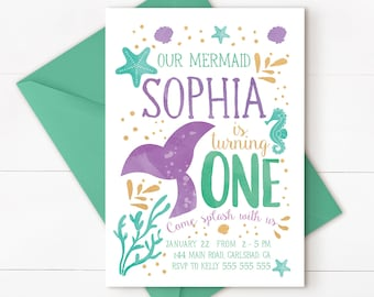 Mermaid Invitation Mermaid Birthday Invitation Teal Purple Gold Sparkle Mermaid Invitation Under The Sea Invitation Mermaid Birthday Party