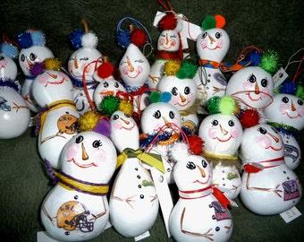 Team Snowman Gourd Ornaments
