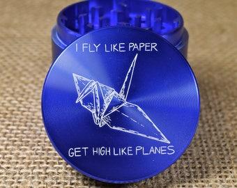 Fly Like Paper - Laser Engraved Herb Grinder