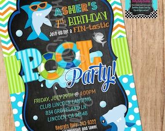 Chalkboard SHARK invitation - you print - birthday/pool party