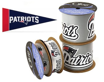 NFL New England Patriots Ribbon, 4-pack of Ribbon & Mini Pennant, Licensed NFL Offray Ribbon