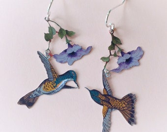 Flower and hummingbird recycled tin earrings