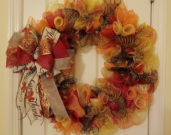 Large Give Thanks Holiday Wreath 24""