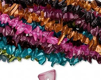10 Strands Glass Chips Mixed Metallic Colors 36 Inch Bright